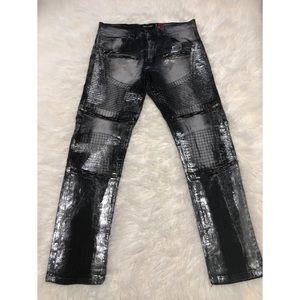 NWOT Makobi Triple Zipper Moto Biker Jeans